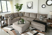 Modern Sectional Living Room Furniture Tan Chenille Sofa Couch Chaise Set Ig3v