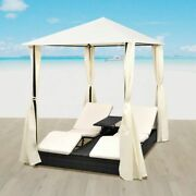 Vidaxl Double Sun Lounger With Curtains Poly Rattan Black Bed Curtain Patio
