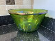 Indiana Glass Iridescent Green Large Harvest Grape Carnival Glass 12 Punch Bowl