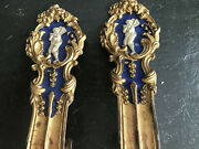 Antique Early 1800s Brass French Tie Backs With White Cherub On Blue Gesso
