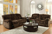 Modern Design Brown Microfiber Living Room Reclining Sofa Couch Loveseat Set F58