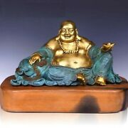 19and039and039bronze Fine Copper Money Drawing Buddha Living Room Decoration Sculpture