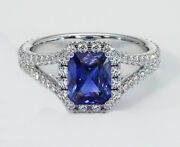 1.58ct Natural Diamond 14k Solid White Gold Sapphire Cocktail Ring Size 7 To 9