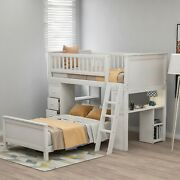 1pc Transitional Twin Over Twin Bunk Bed Bedroom White Furniture Wood Shelves