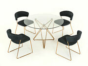 New 5 Piece Modern Dining Room Set Furniture - Round Table And Gray Chairs Icv5