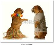 Two Dogs Dancing Art Print / Canvas Print. Poster, Wall Art, Home Decor - D