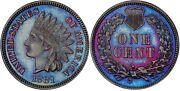 Pr-66 1881 Indian Head Cent. Electric Blue Toned Proof Coin Graded By Pcgs.