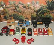 Lot Of 15 Vintage 70and039s 80and039s Tootsietoy Trucks Jeep Tanker 4x4 T-bird Pickup