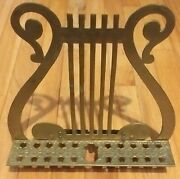 Rare Vintage Solid Brass Lyre Harp Ornate Design Music Note Book Stand Top Only