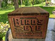 Antique Birds Eye Double Dip Matches Wood Crate With Original Hinged Lid And Lock