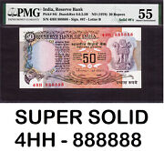 India 50 Rupees 1978 Super Solid 4hh 888888 Letter 'b' Pick-84i About Unc Pmg 55