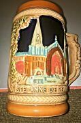 Large Quebec Beer Stein Chateau Frontenac Ste. Anne De Beaupre 5 1-2tall Perfect