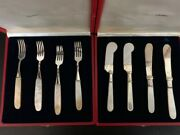 Sterling Silver Mother Of Pearl Forks And Knives, Cavier, Butter, Vintage