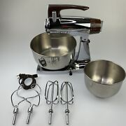 Excellent Vintage Chrome/brown Sunbeam Mixmaster Mixer 2 Stainless Bowls Beaters