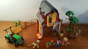 Playmobil 3909 Farm Animal With Tractor And Barn. Retired