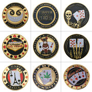 Wr 9pcs Poker Chip Gold Coin Casino Table Game Poker Card Guard Collection Set