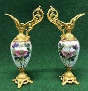 Pair Of Victorian Ewer Urn Hand Painted Flowers On Glass Cast Metal Base And Top