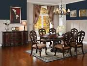 Old World Cherry Brown 7 Piece Dining Room Set - Round Oval Table And Chairs Ic5u