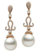 1.90ct Natural Round Diamond 14k Solid Rose Gold Pearl Wedding Dangle Earring