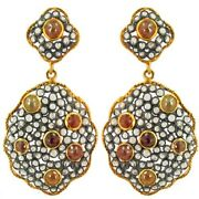 Earring Natural Pave Slice Cut Diamond 925 Solid Sterling Silver Jewelry Dj