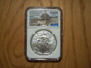 2019 W 1 Burnished Silver Eagle Ngc Ms70 Fdoi Dogs For Our Brave C. Roseberry