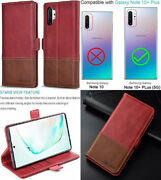 For Samsung Galaxy Note 10 Plus Wallet Case Stylish Genuine Leather Red/brown