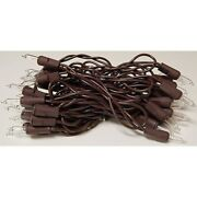 35 Ct Count Christmas Lights Brown Wire Cord Light Set Primitive Farmhouse Craft