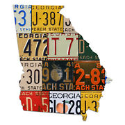 Georgia License Plate Map Cut Sign, The Peach State License Plates, Map Sign