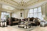 Traditional Living Room Wood Trim And Brown Fabric Sofa Couch And Loveseat Set Ird3