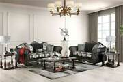Traditional Living Room Wood Trim And Black Fabric Sofa Couch And Loveseat Set Ird4