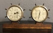 Antique Airguide Barometer And 7 Jewels 8 Day Watch Clock Metal Housing And Brass