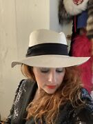 Vintage 70s Does 40s Women's Smooth Criminal White Straw Fedora Hat