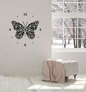 Vinyl Wall Decal Polygonal Butterfly Clock Home Room Interior Stickers Ig5805