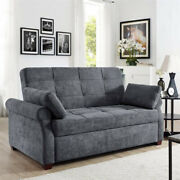 Sofa Bed Sleeper Queen Size Convertible Couch Gray Eucalyptus Wood Frame