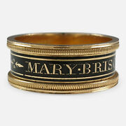 George Iii 18ct Gold And Enamel Memorial Mourning Band Ring 1809