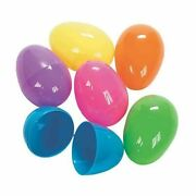Happy Go Fluffy- 6 Count Large Bright Plastic Easter Eggs 2.16 In/5.5 Cm