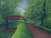 Original Acrylic Painting Red Canal Bridge 18x24 Landscape By Timothy Stanford