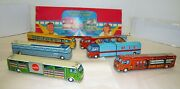 Very Rare Vintage 1950and039s Friction Coca-cola Transport Trailers Set Of 6 Nmib