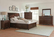 New Transitional Cherry Brown Bedroom Furniture - 5pcs King Storage Bed Set Ia7j