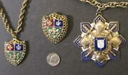 3 Piece Vintage Midcentury Enamel Heraldic Jewelry Collection 2 Chokers And 1 Pin