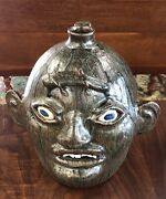 Rare Matthew Hewell Tobacco Spit Southern Folk Art Face Jug With Lizard 11.5andrdquo H