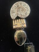 Amy Kahn Russell Pendant Pin Gold Fossil Signed