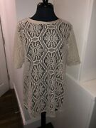 New With Tags Banana Republic Beige Sheer Lace Short Sleeve Blouse Zip Back Xl