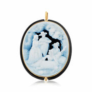 Vintage Black Agate Cameo Pin/pendant With Diamond Accents In 18kt Gold
