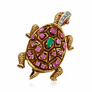 Vintage Ruby Green Chalcedony And Diamond Turtle Pin In 14kt Gold