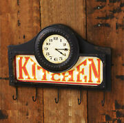 Cast Iron Kitchen Wall Clock With Hooks And Led Lights - Vintage Country Decor