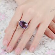 Si/h Real Diamond Ring 10k White Gold Pave Prong Setting Oval 17x12mm Amethyst