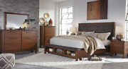 New Modern Brown Finish 5 Piece Bedroom Set W/ King Upholstered Storage Bed Ia0a