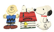 Vintage Peanuts Snoopy And Charlie Brown Stuffed Fabric Cut Out Complete 3 Piece