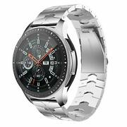 Samsung Galaxy Watch Band 46mm Enamel Process Stainless Steel Metal Strap Silver
